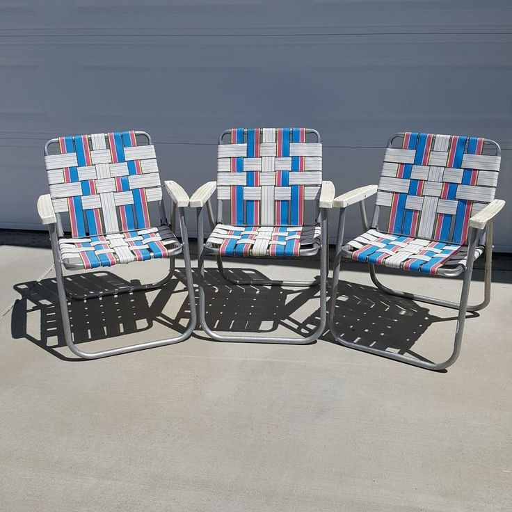 Details about Vintage Folding Lawn Beach Patio Chairs Aluminum Webbed Pink  Blue White Set of 3