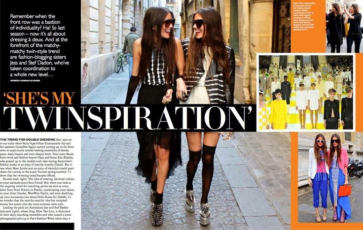 The girls from How Two Live in UK Grazia wearing dANSK sunnies #danskmelbourne #howtwolive #ukgrazia #december2012 #styling #twinspiration #danishfashion