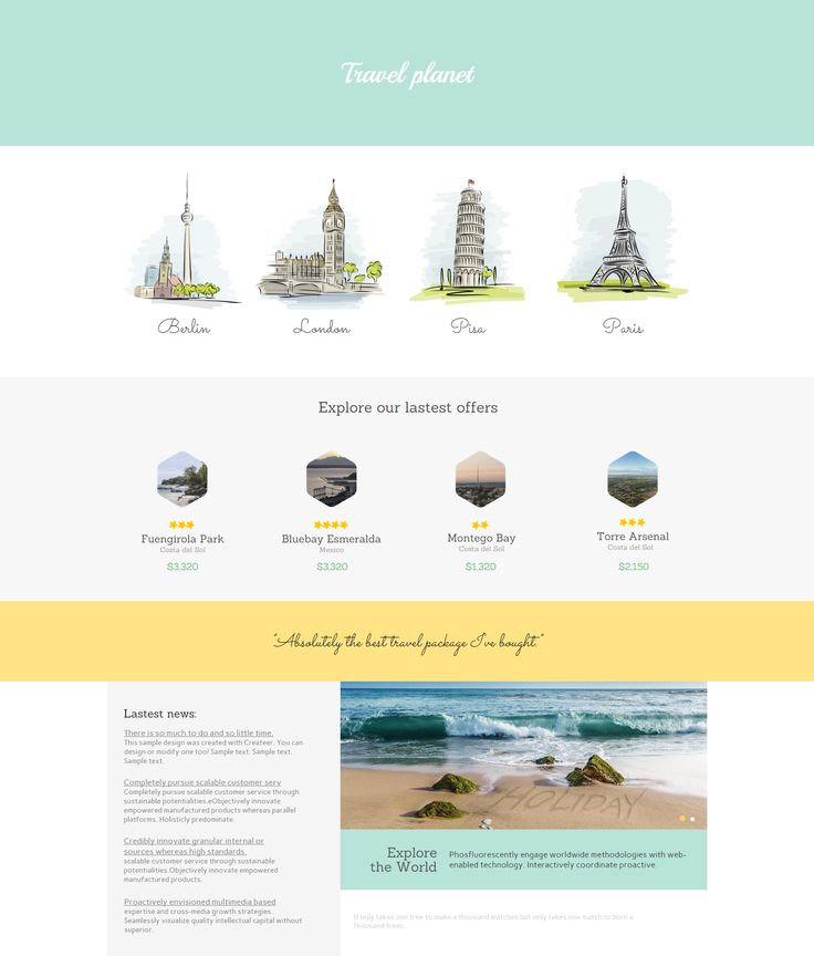 Example of Trave Company website template. Click to edit.  #website #design #webdesign #business #createer #travel