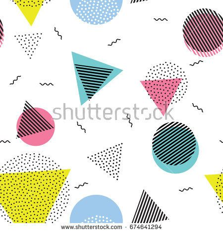 Vector seamless pattern with color, black and white geometric forms. Line, triangle, circle shape with dots . Retro 80s-90s pattern.