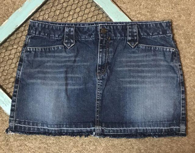 American Eagle Skirt Womens Size 10 Blue Denim Jean Mini Short Fray Festival | eBay