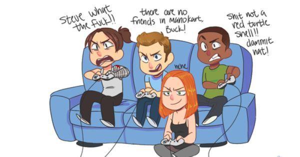 Bucky Barnes, Natasha Romanov, Sam Wilson, Steve Rogers playing videogames   All Caps + Natasha❤️   Pinterest   Bucky, Bucky Barnes and Steve Rogers