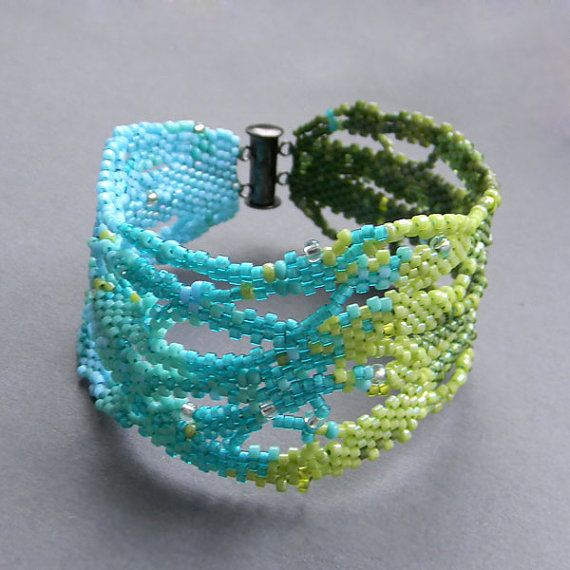 Turquoise and green  free form bracelet   by Anabel27shop on Etsy,