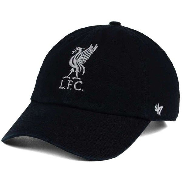 '47 Brand Liverpool Fc Clean Up Cap (331.715 IDR) ❤ liked on Polyvore featuring accessories, hats, black, logo hats, 47 brand hats, 47 brand caps, '47 brand and colorful hats