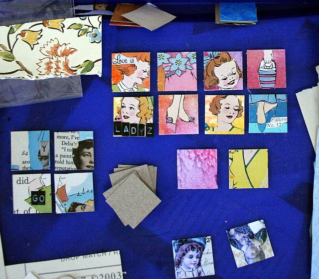 More of Lia's (aka artjunkgirl) inchies in the process of being made using the backgrounds sent as a gift by Pamela.  #inchies #art