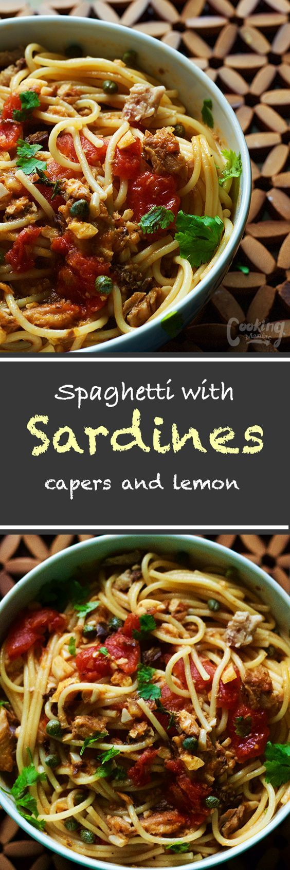 This pasta sauce is filled with everyday pantry essential. This spaghetti with sardines, capers and lemon is super easy to make, nutritious and delicious.: