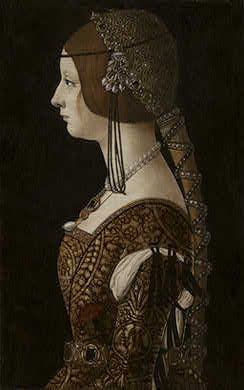 Empress Bianca Maria Sforza, ca. 1493  (Ambrogio de Predis)      (1452-1508)            National Gallery, Washington D.C.       1942.9.53