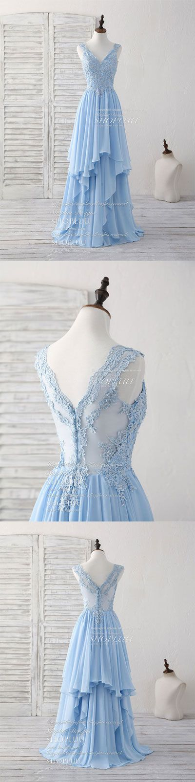 Blue v neck applique chiffon long prom dress lace bridesmaid dress