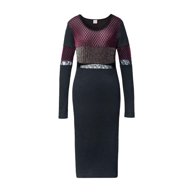 B15FW0413 - BABYGHOST независимый дизайнер сшивание стекаются темно-красное платье - Taobao