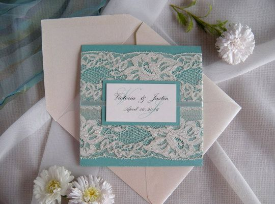 Rustic Lace Wedding Invitation, Gold Wedding Invitation, Green Wedding Invitation, Emerald Wedding Invitation, Mint Wedding Invitation