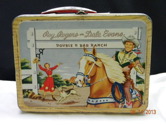 Roy Rogers and Dale Evans Metal Lunch Box Pail, collectibles, childs lunch box on Etsy, $250.00