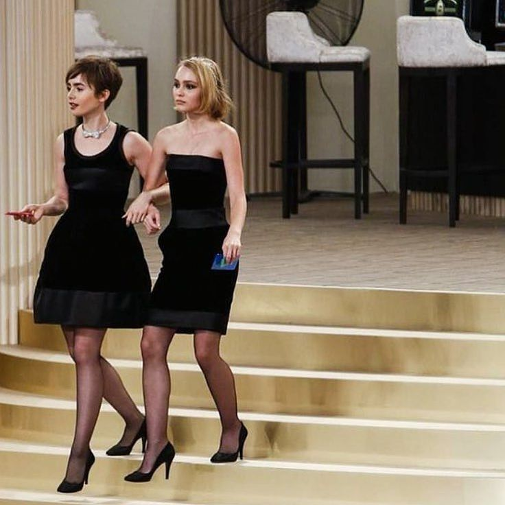 Lily Collins and Lily-Rose Depp Looked Glamorous in Black Dresses and Pumps