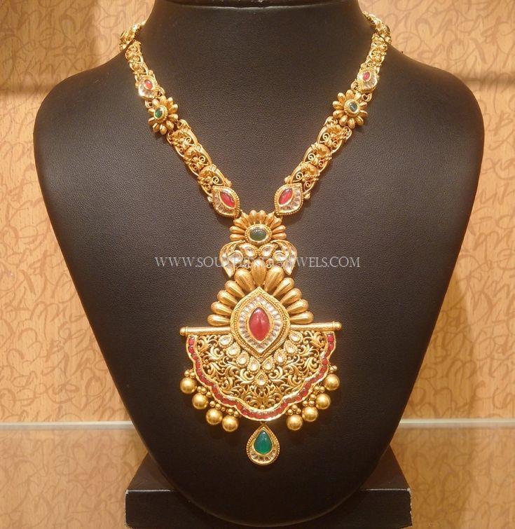 Gold Designer Kundan Long Necklace, Gold Long Kundan Necklace Designs, Designer Kundan Necklace Models.