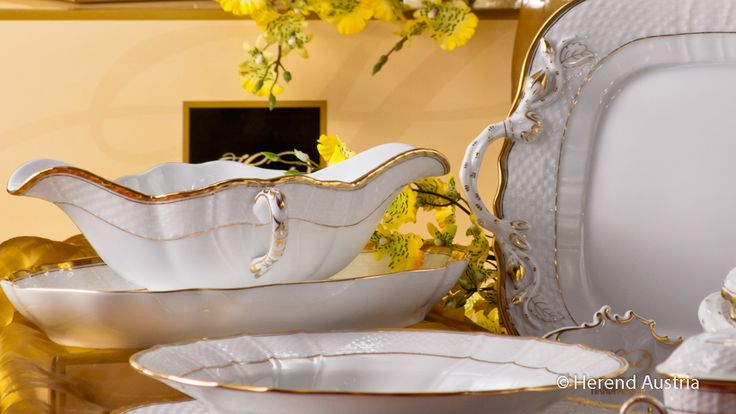 Sauce Boat of the simple but great Hadik HD - white gilded Porcelain