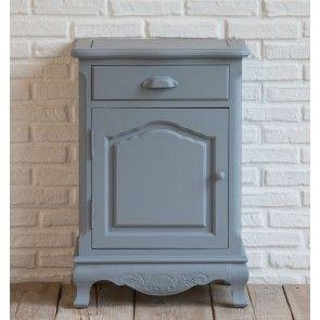 Comodino cassetto e anta in legno grigio chiaro shabby Luxe Lodge