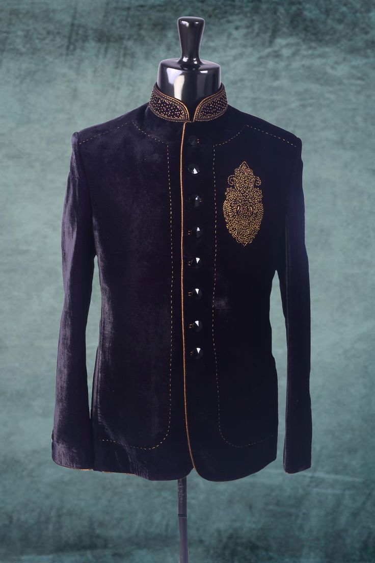 Navy blue zari worked velvet suit in full sleeves-ST240 #navyblue #zari #velvet #mens #designer #suit #handsome #classy #striking #stunning #collection