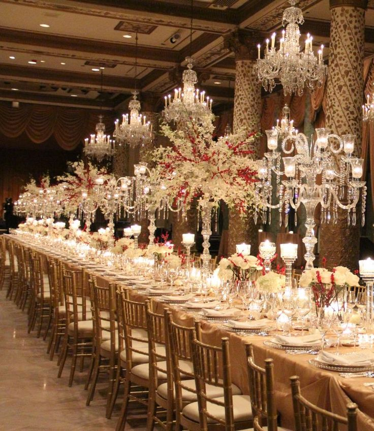 long wedding table with crystal candelabras at drake hotel chicago