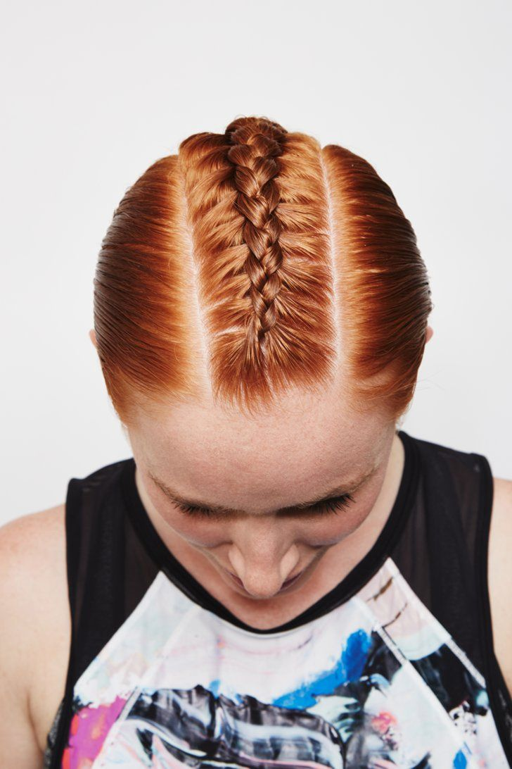 Pin for Later: 5 Braided Updos That Will Keep Your Hair Back So You Can Achieve Your Fitness Goals Dutch French-Braided Mohawk
