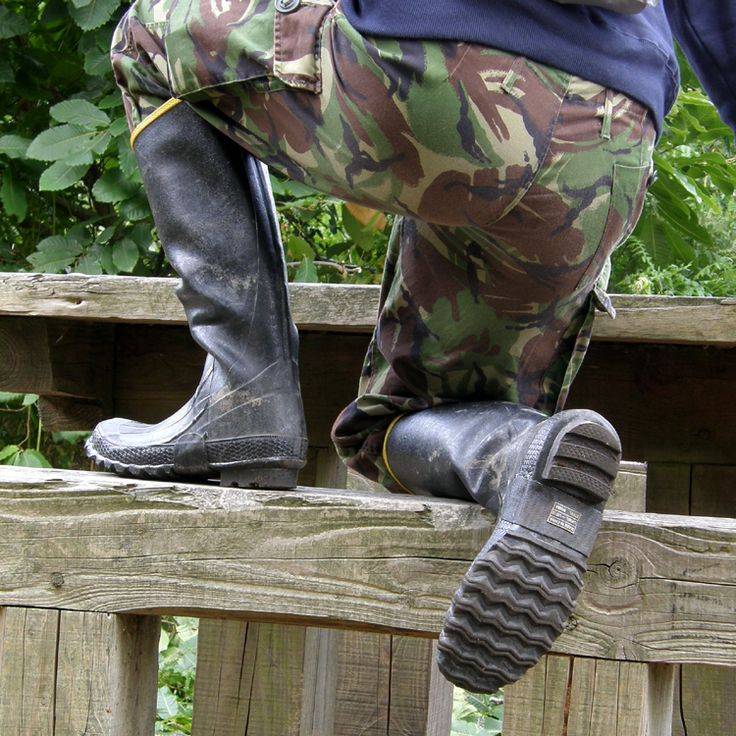 Rubber boots go great with camouflage pants