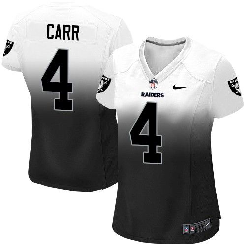 Women's Nike Oakland Raiders #4 Derek Carr Game White/Black Fadeaway NFL Jersey