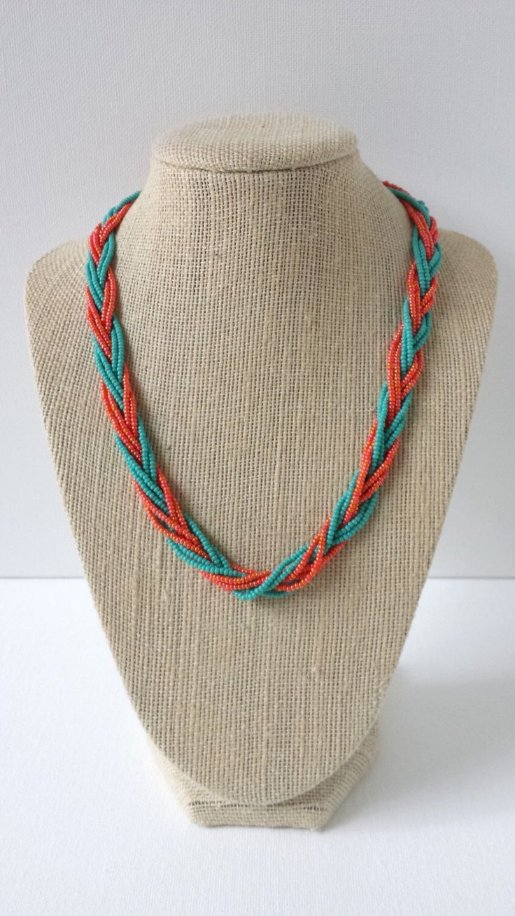 Teal and orange necklace, seed bead necklace, braided necklace, orange necklace…