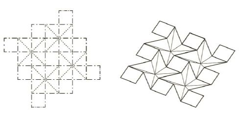 Figure 2: Ron Resch's folding pattern a. flat state; b. folded state.