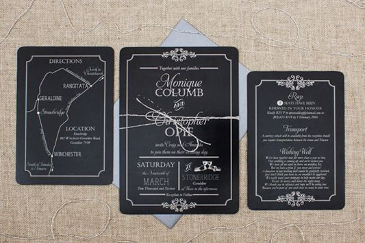 blackboard style wedding invitations with vintage feel including info cards