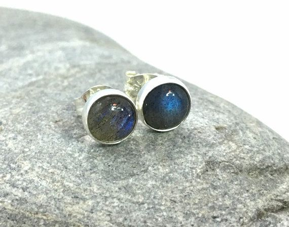 Labradorite Stud Earrings ... 6mm by SilverSirenStudios on Etsy