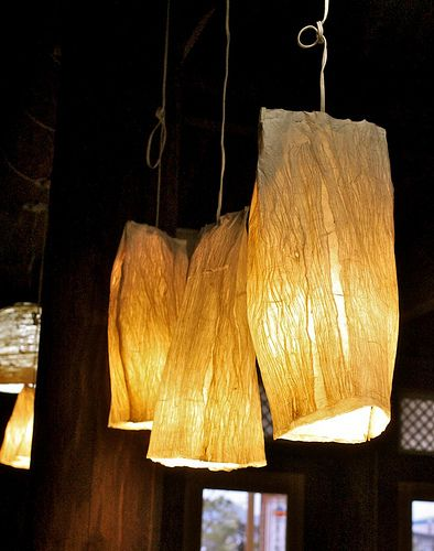 The owner handmade these lamp shades from Hanji (한지), handmade Korean paper.