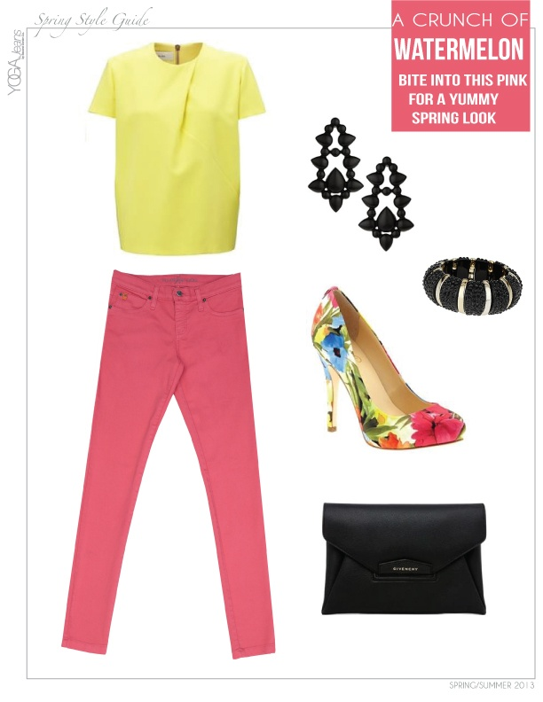 These watermelon pink Yoga Jeans make a deliciously sweet and sexy outfit for spring! #style #denim #color