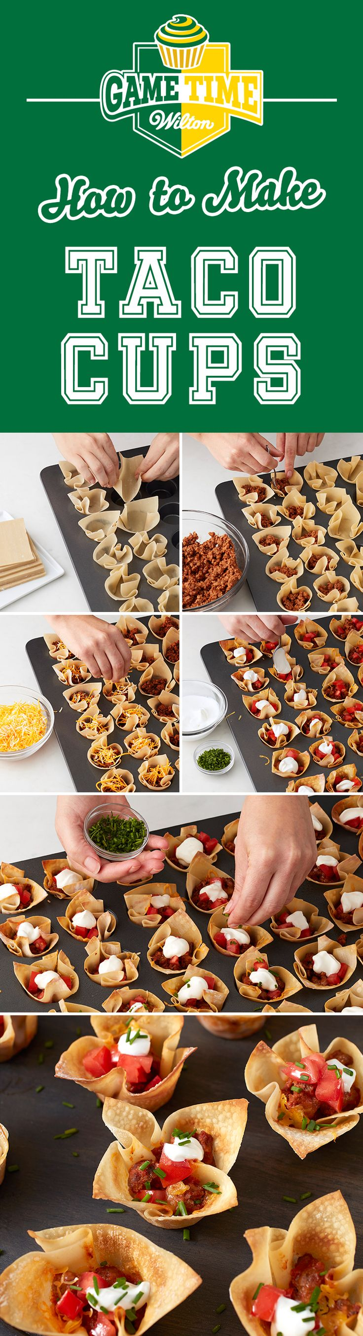 How to Make Mini Taco Cups - Mix things up with a grab-and-go snack that'll get your game day fiesta started. This fun twist on a taco is served in a light and flakey phyllo dough cup. No overtime required either. Use the MVP Mega Muffin Pan to bake 4 dozen game day snacks at once.