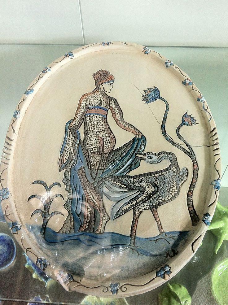 Another plate, my interpretation of Cyprus Mosaics 'Lido & The Swan'