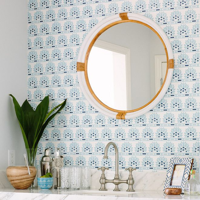 Love the wallpaper and mirror.
