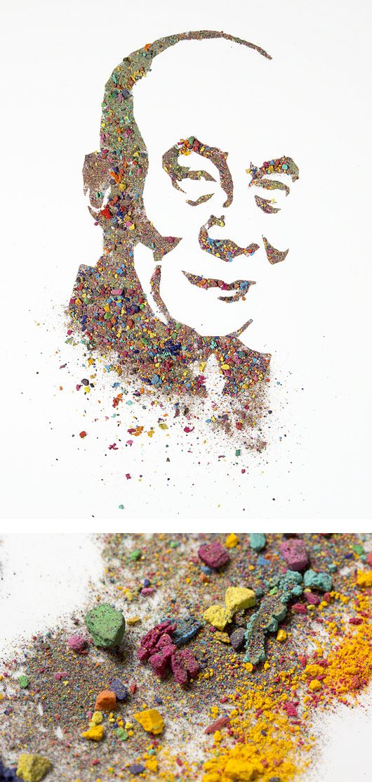 Crushed Watercolour Portraits by Borja Martínez