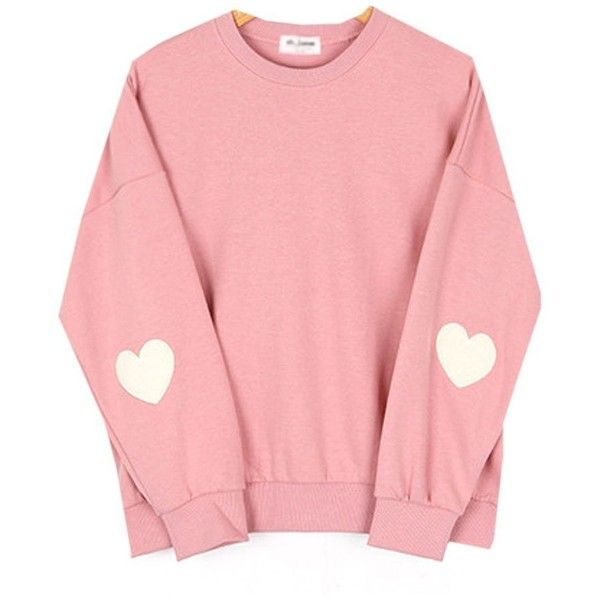 Cute Korean Styles Pink Pastel Heart Elbow Patch Pullover Sweatshirts... ($22) ❤ liked on Polyvore featuring tops, hoodies, sweatshirts, pink sweatshirts, pullover sweatshirt, red sweatshirt, sweater pullover and pastel tops