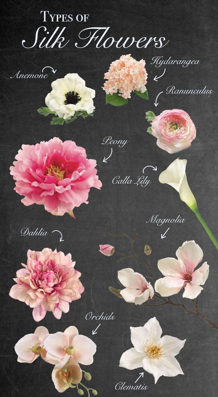 Types of silk flowers. Trying to decide which flowers to use for your wedding? We've got a wide variety of premium quality silk flowers. Silk flowers are a great way to do your wedding flowers ahead of time, check that off your list early and for a portion of the cost! #diywedding