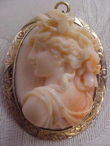 Antique Victorian Carved Coral Cameo Brooch PNDT Bacchante 10K Gold High Relief | eBay