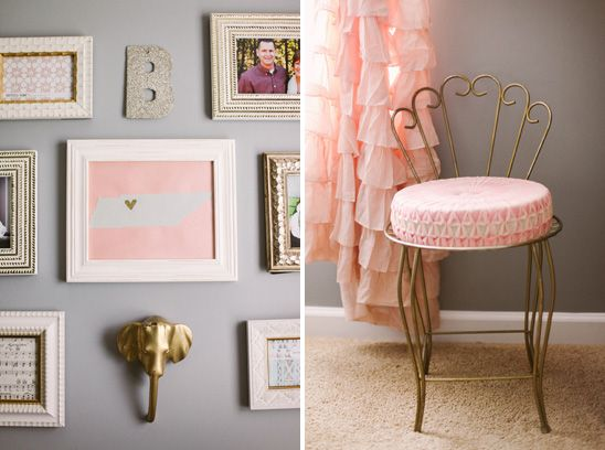 Sweet feminine nursery in peach gold and gray for Peach and gold bedroom