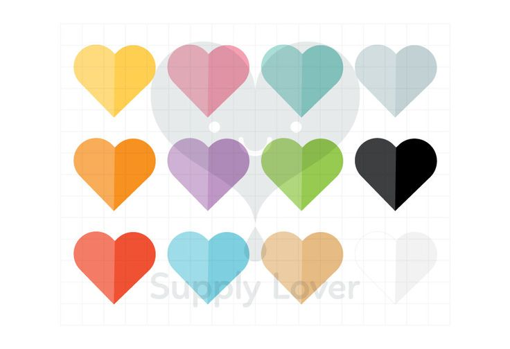 PAPER FOLD HEARTS Clip-Art Commercial Use, Hearts, Fold, Paper, Rainbow Colors, Valentines, Love - B0039