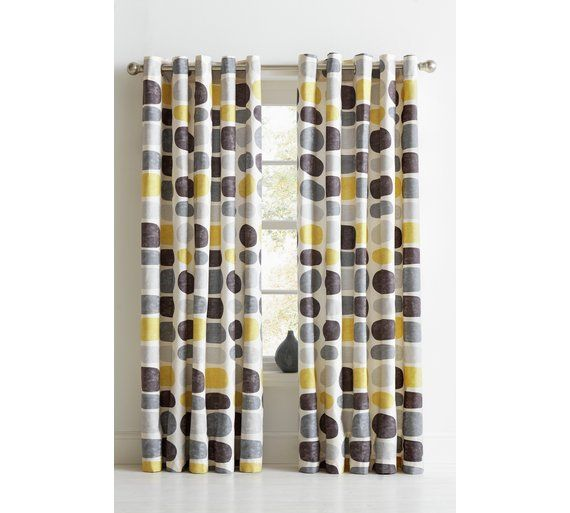 Buy HOME Pebbles Unlined Eyelet Curtains-117x137cm-Grey/Yellow at Argos.co.uk, visit Argos.co.uk to shop online for Curtains, Blinds, curtains and accessories, Home furnishings, Home and garden