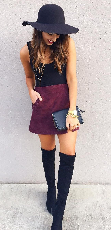 #pretty #winter #outfits /  Black Hat // Black Tank Top // Purple Velvet Skirt // Black OTK Boots