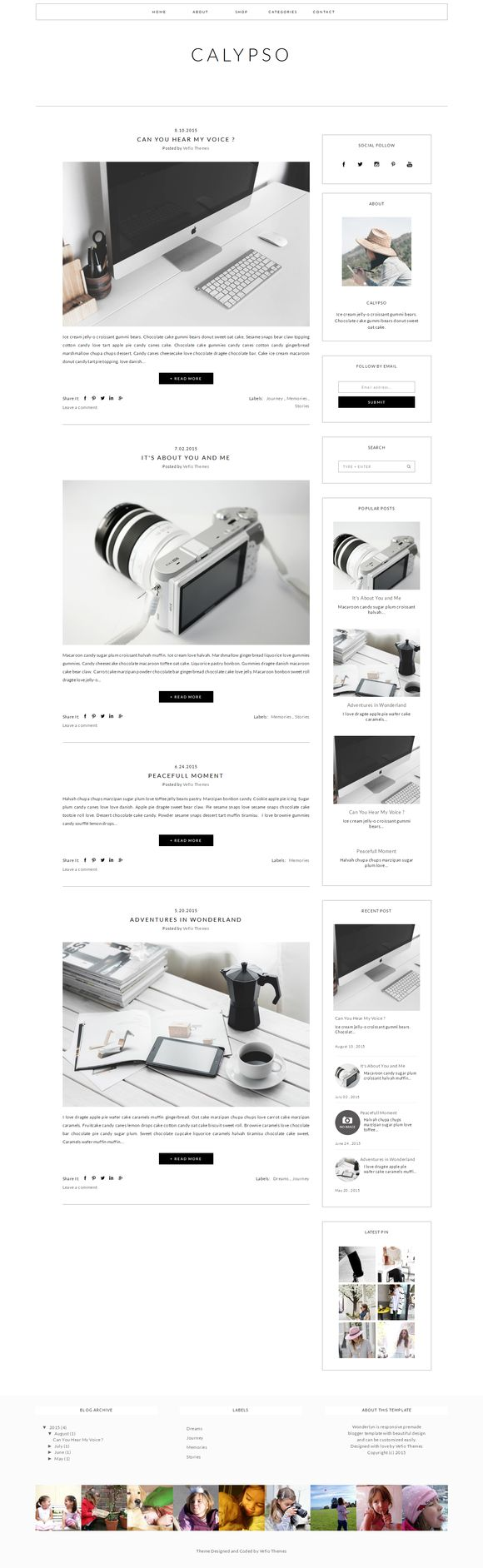 Blogger Template Responsive -CALYPSO by Vefio Themes on @creativemarket