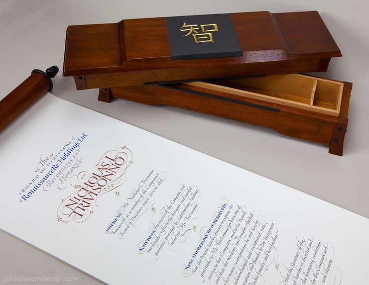 Honorary scroll and box. John Stevens and Martin O'Brien collaboration.