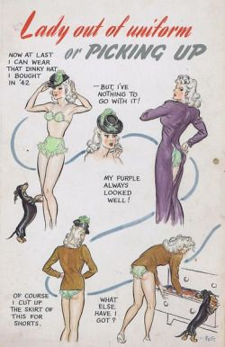 Lady out of uniform (1945) by Pett Norman on original-political-cartoon.com