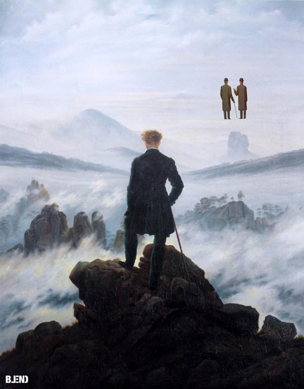 Caspar #DavidFriedrich, The wayfarer above sea of fog | Rene #Magritte, Endless gratitude #art #painting #blend