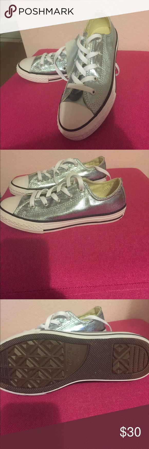 New converse shoes Brand new converse in a silvery blue color. Youth size 2. Perfect condition. Grab them for back to school! Converse Shoes Sneakers