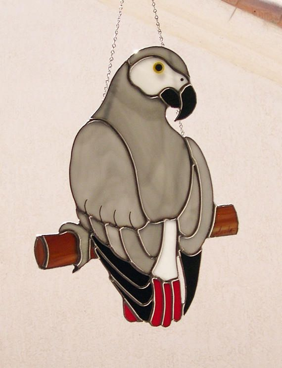 Stained Glass Suncatcher African Grey Parrot 803