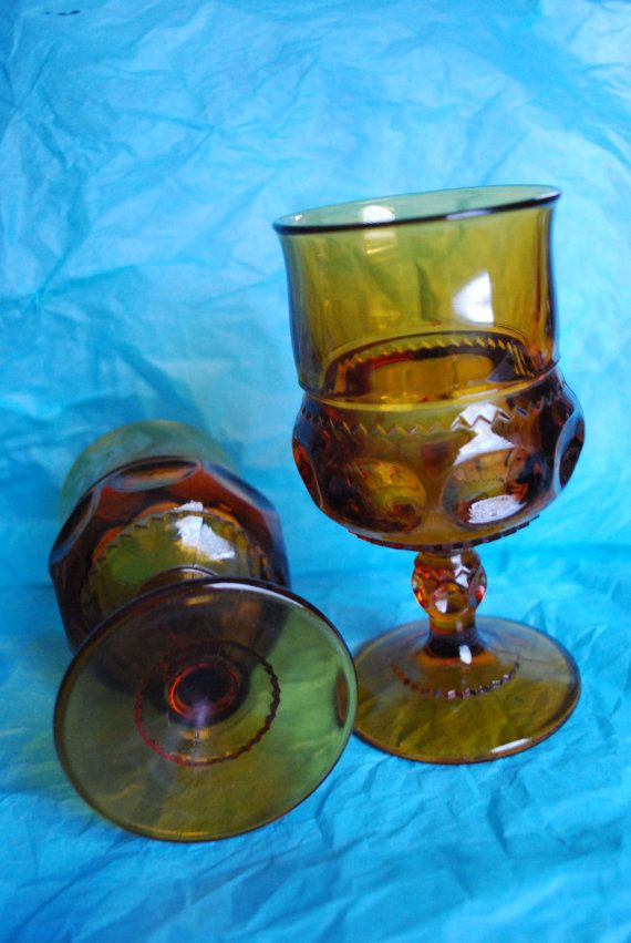 2 Amber Goblets by MissingTheExit on Etsy