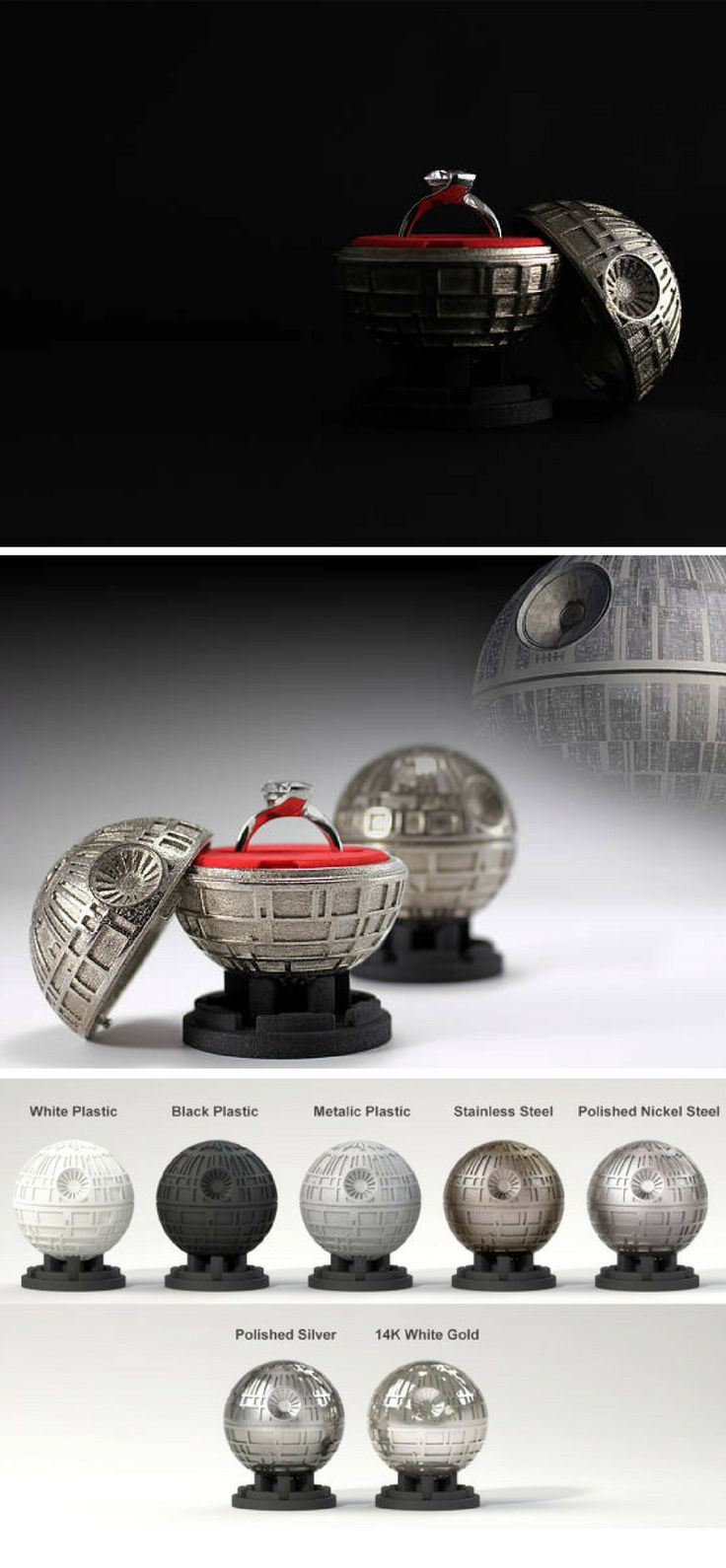 Every Star Wars fan should propose with this Death Star wedding ring holder. It's awesome! #ringboxes #starwars  #geek #proposal #deathstar #wedding #commissionlink
