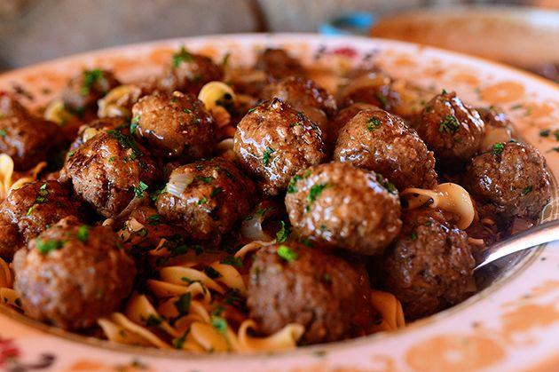 Salisbury meatballs and noodles.